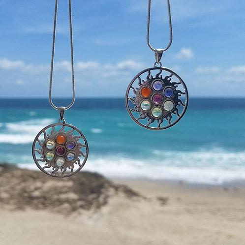 7 Stone Chakra Sun Necklace