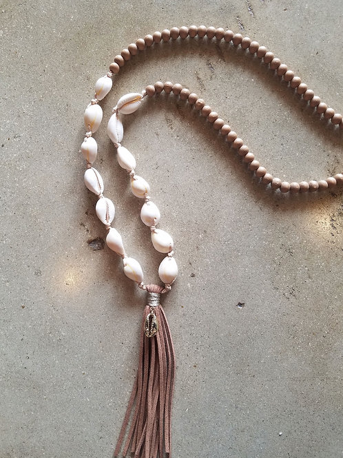 Long Cowrie Tassel Necklace