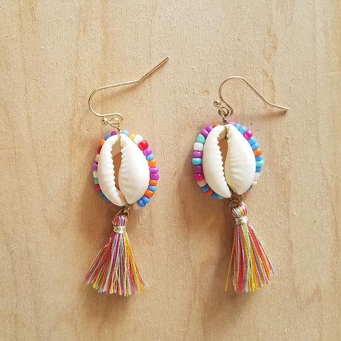 Multi Colored Cowrie & Tassel Earrings