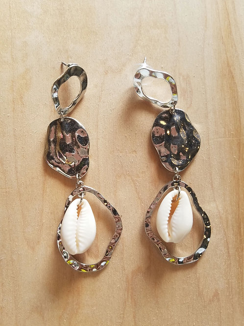 Silver Drop Cowrie Earrings