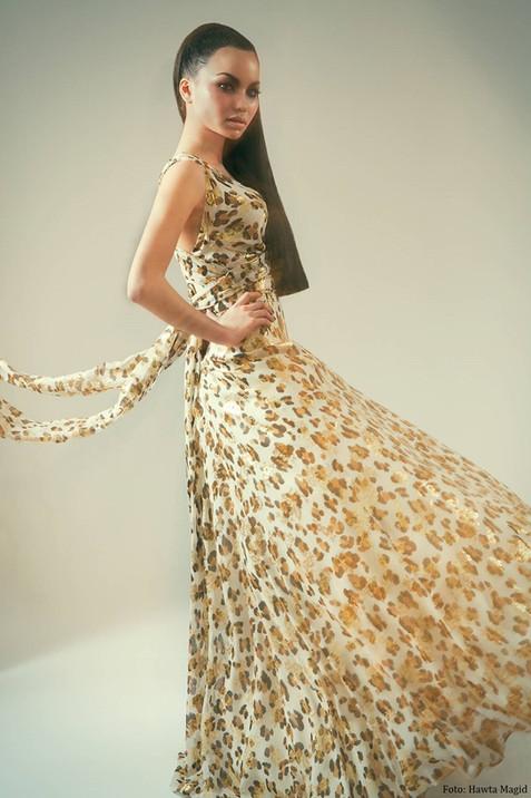 Långklänning leopard