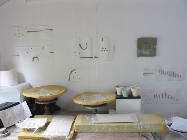 A studio wall platters in making