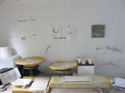 A studio wall platters in making