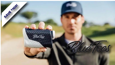 Man holding blue tees rangefinders