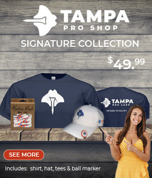 Female in yellow polka dot dress pointing to Tampa Pro Shop signature bundle