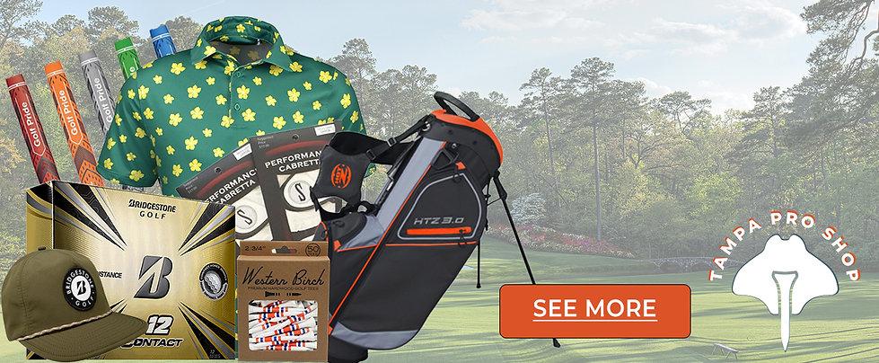 Golf bags, golf tees, Bridgestone golf balls, Golf Pride grips