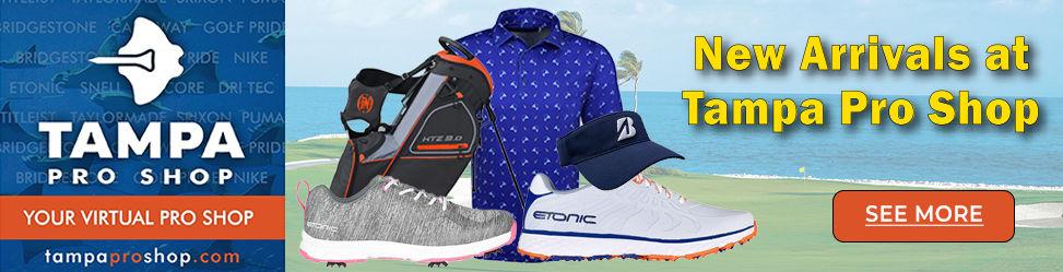 Etonic golf shoes, Tampa Pro Shop virtual pro shop, golf bags, Bridgestone golf hats