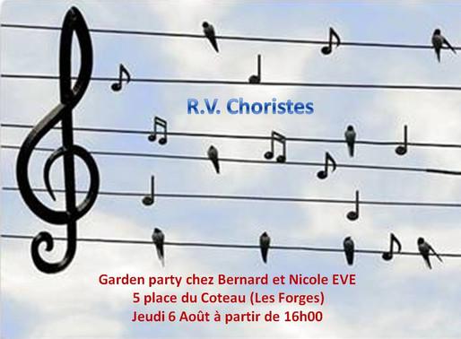 Rendez-vous choristes N° 2 le Jeudi 6 Août 2020, 5 place du coteau (Les Forges) à 16H00