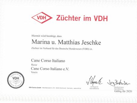 Die VDH Züchter-Urkunde ist da :-)