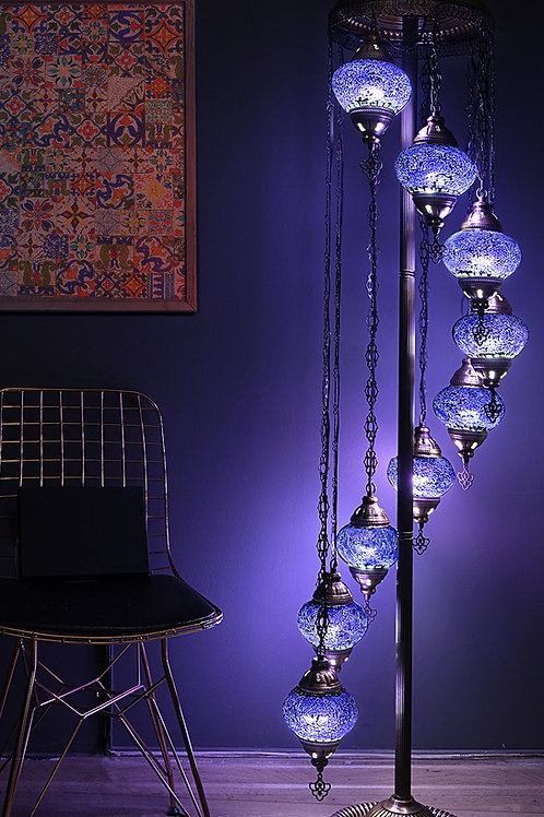 Turkish Lamp, Free Express Shipping Offer, 9 Globe Mosaic Lamp