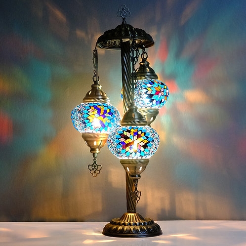 Turkish Lamp, 3 Globe Mosaic Table Lamp, Turkish Floor Lamp Kopyası Kopyası Kopy