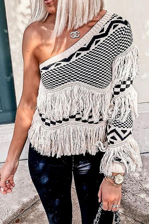 Fringe Off Shoulder Sweater PRE ORDER 12/7