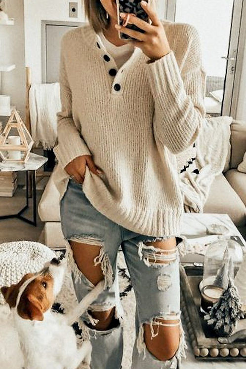 Button Knit Pullover