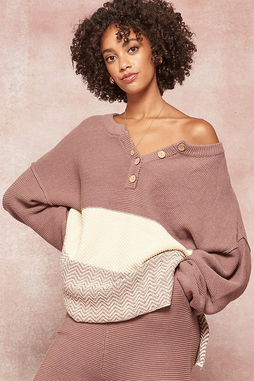 Color Block Henley Sweater (Set)