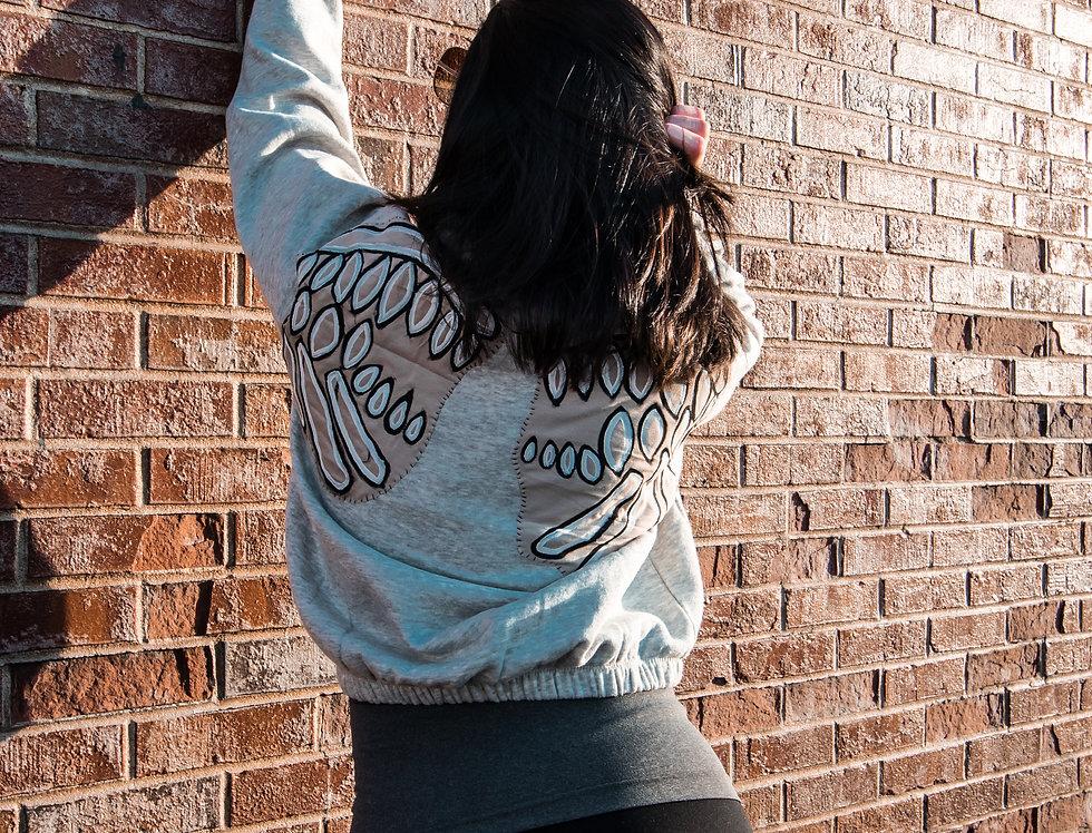 Grey Wing Crop Sweatshirt