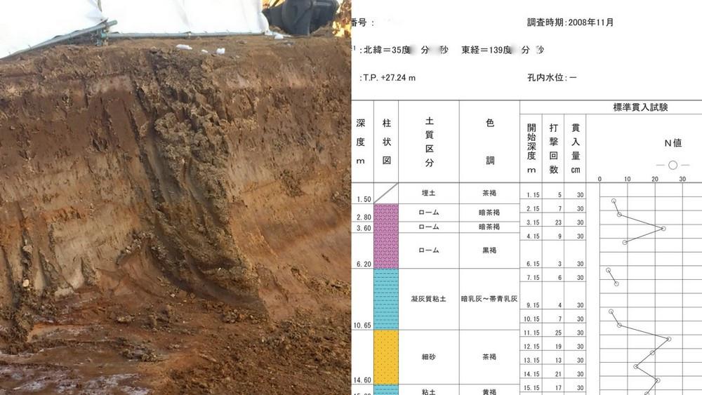 敷地と近隣の参考地盤調査資料を見比べる