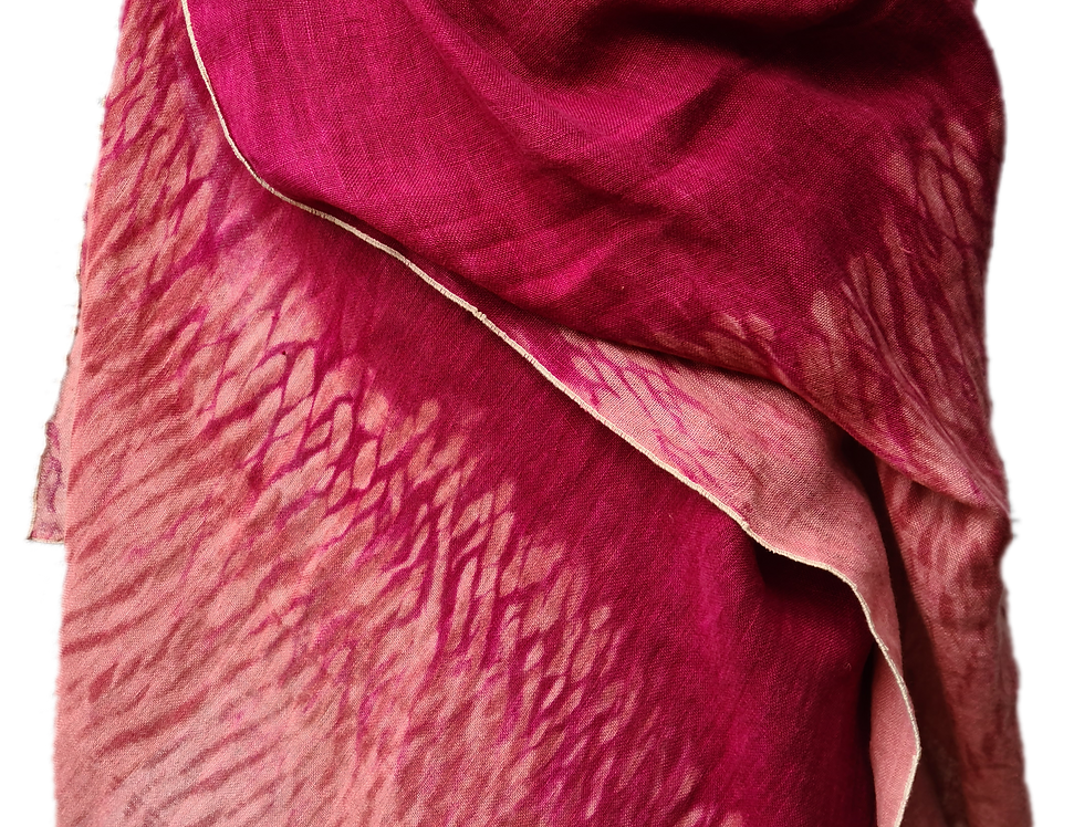 Etole Voile de lin - Shibori - Fuchsia