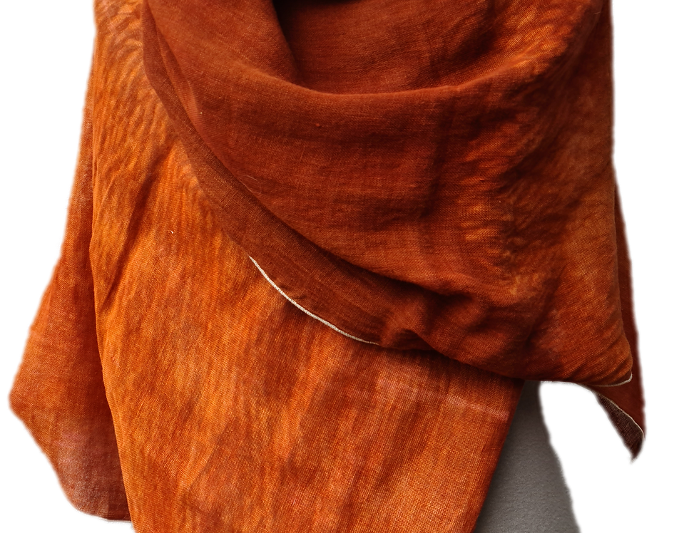 Etole Voile de lin - Shibori - Brique