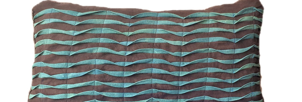 Coussin ondine Turquoise/gris