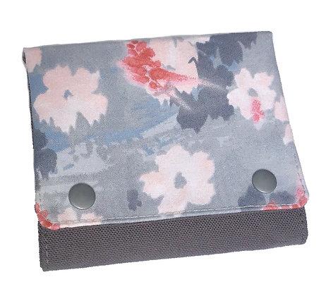 Portefeuille Fleurs rose/gris