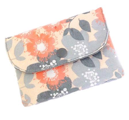 Mini pochette Fleurs rose/ gris