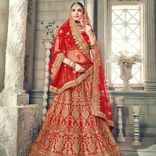 Complete Whimsical Style Satin Heavy Embroidered Bridal Wedding Lehenga Choli With Diamond Zari Work