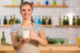 Coffee bar. Nice positive young woman sm