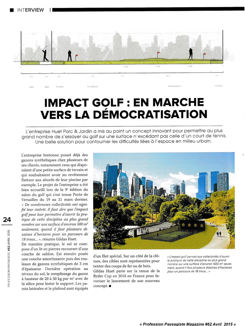 Impact Golf, article paru dans Profession Paysagiste Magazine #62 Avril 2015