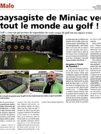 Impact Golf, article paru dans Le Pays Malouin, Jeudi 5 novembre 2015