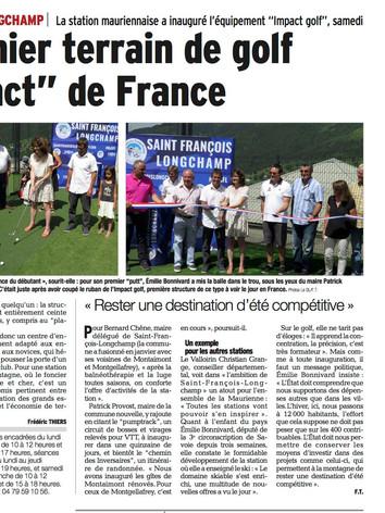 Impact Golf, article paru dans le Dauphiné libéré le 10 juillet 2017