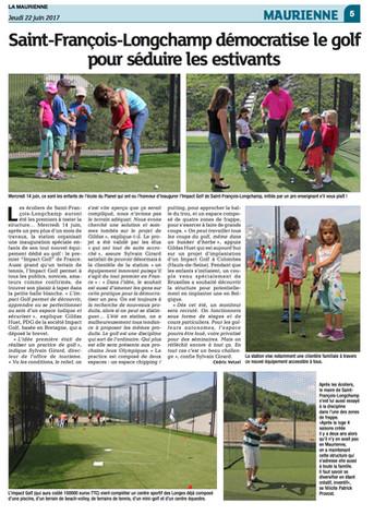 Impact Golf, article paru dans La Maurienne  le 22 juin 2017