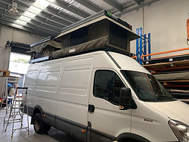 Iveco Daily Van with 2 x Standard Bundutops hard shell roof top tents fitted.jpg