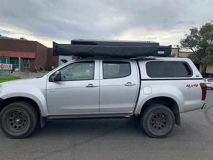 Stage 2 Tough Touring Roof top tent mounting rack with Bundutop Tent and Ostrich wing awni