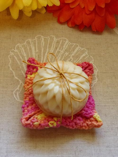 Orange Kitchen Dish Soap & Cotton Crochet Dish Cloth