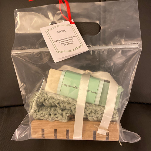 Bergamot & Mint Gift Bag/Wooden Soap Dish and Cotton Crochet Washcloth