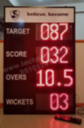 LED Cricket scoreboard New Delhi, India. Installations at Delhi, Noida, Mumbai, Chennai, Bengaluru, Jalandhar, Guwahati, Lucknow, Aligarh etc