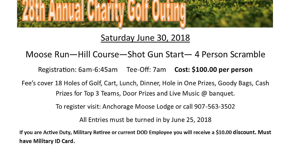 28th Annual Moose Lodge 1534, Charity Golf Outing