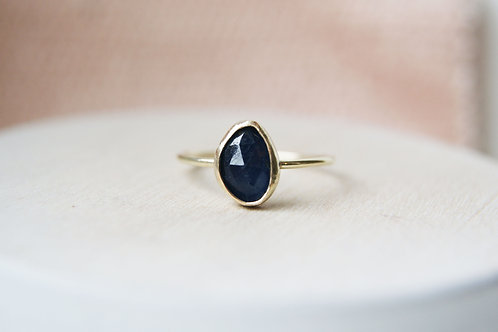 The Sapphire - Rose Cut Sapphire and 9ct Gold Low Profile Ring