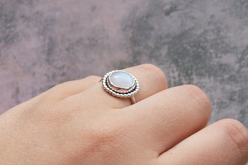 Big Rainbow Moonstone Silver Statement Ring with Decorative Bezel
