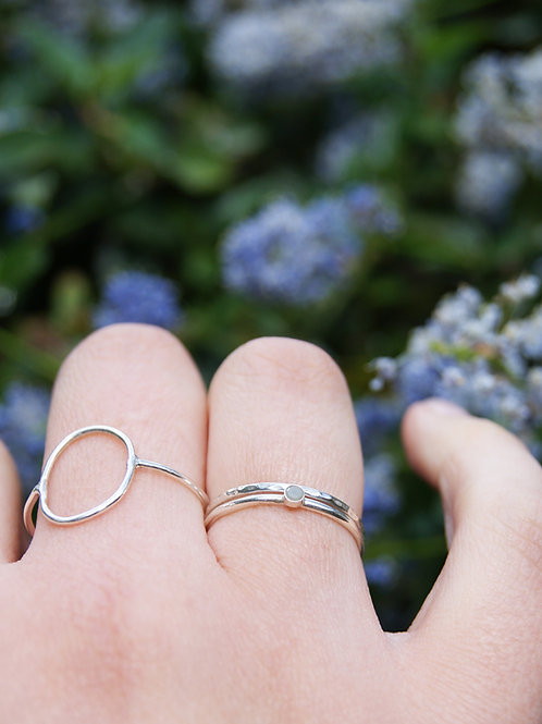 2mm Tiny Grey Diamond Sterling Silver Stacking Ring Set, Conflict Free Raw Diamo