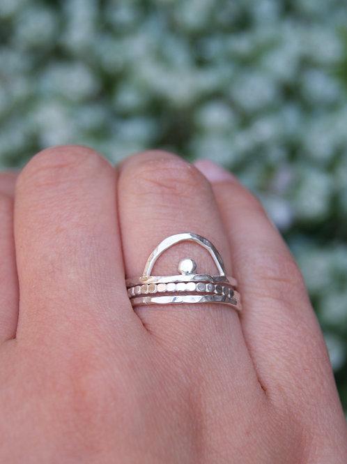 Arc Silver Stacking Ring Set, Sunrise Rings
