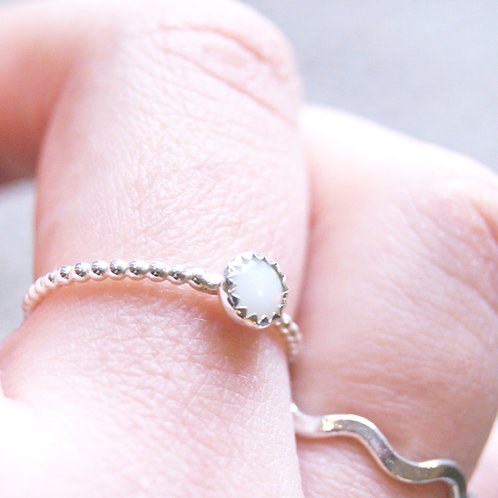 White Opal Sterling Silver Stacking Ring, Silver Ball Ring