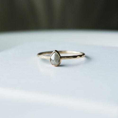 9ct Gold Natural Grey Pear Diamond Ring