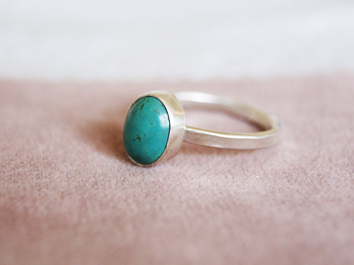 Turquoise and Silver Comfort Fit Ring