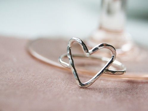 Silver Hammered Open Heart Ring