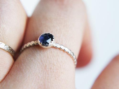 Iolite Silver Dot Stacking Ring