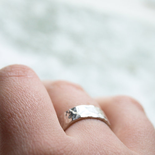 Wide Hammered Silver Ring With Hidden Heart