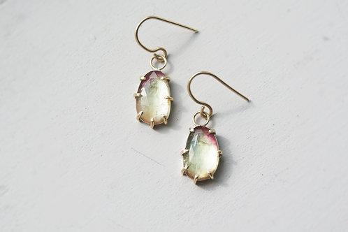9ct Gold Claw Set Watermelon Tourmaline Drop Earrings