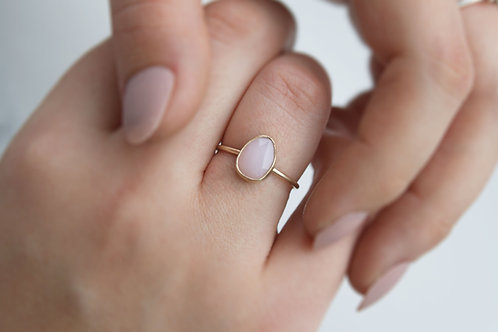 The Opal - 9ct Gold Ring with Free form Pink Opal