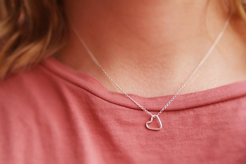 Open Space Love Heart Necklace in Sterling Silver